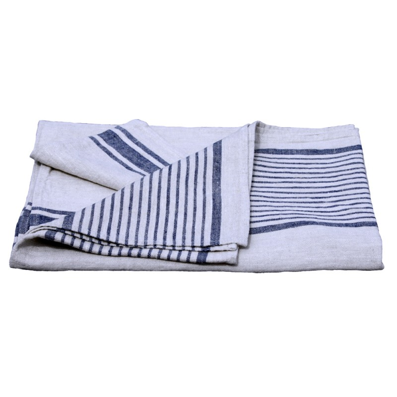 Stonewashed Linen Pure 100 Linen Flax Luxury Bath Towel Grey With Blue Stripes Pre Washed