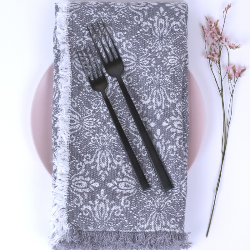 Stonewashed Linen Pure 100 Linen Napkin With Fringes