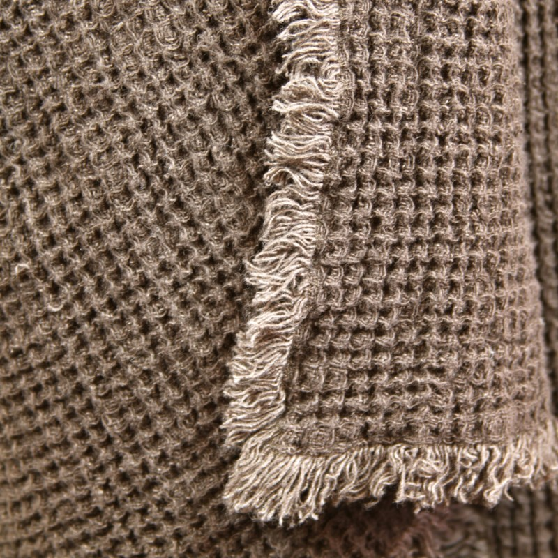 Stonewashed Linen Pure 100 Linen Throw Blanket Waffle