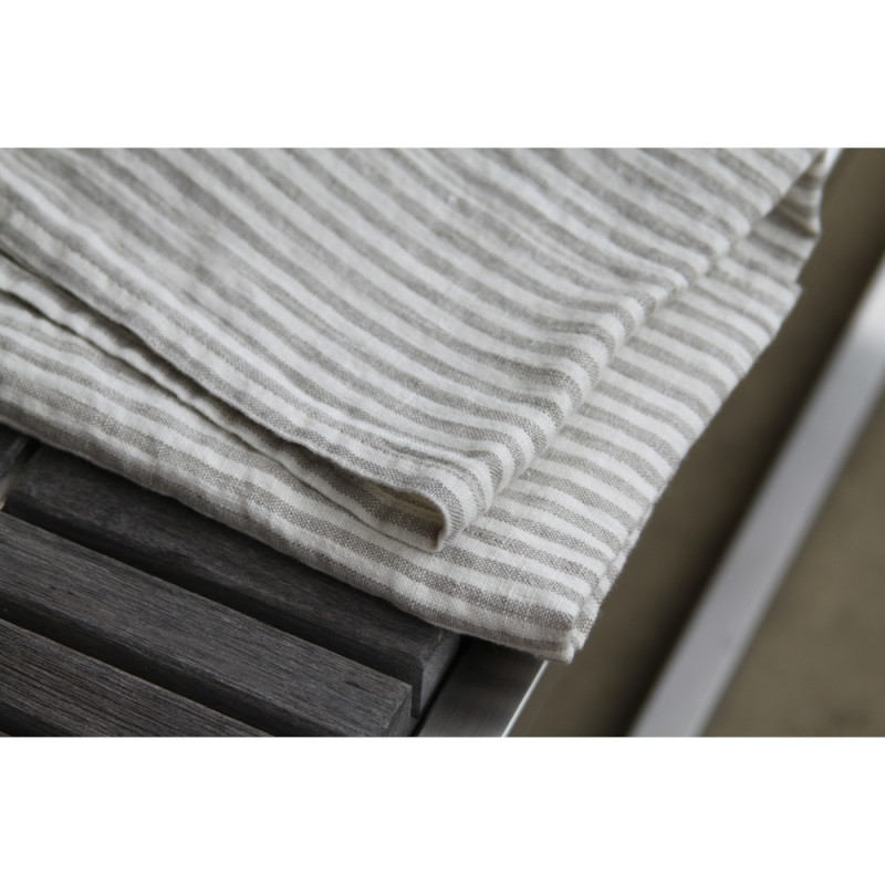 ... Linen Kitchen Towel   Stonewashed   Grey White Stripes   Thin Linen ...