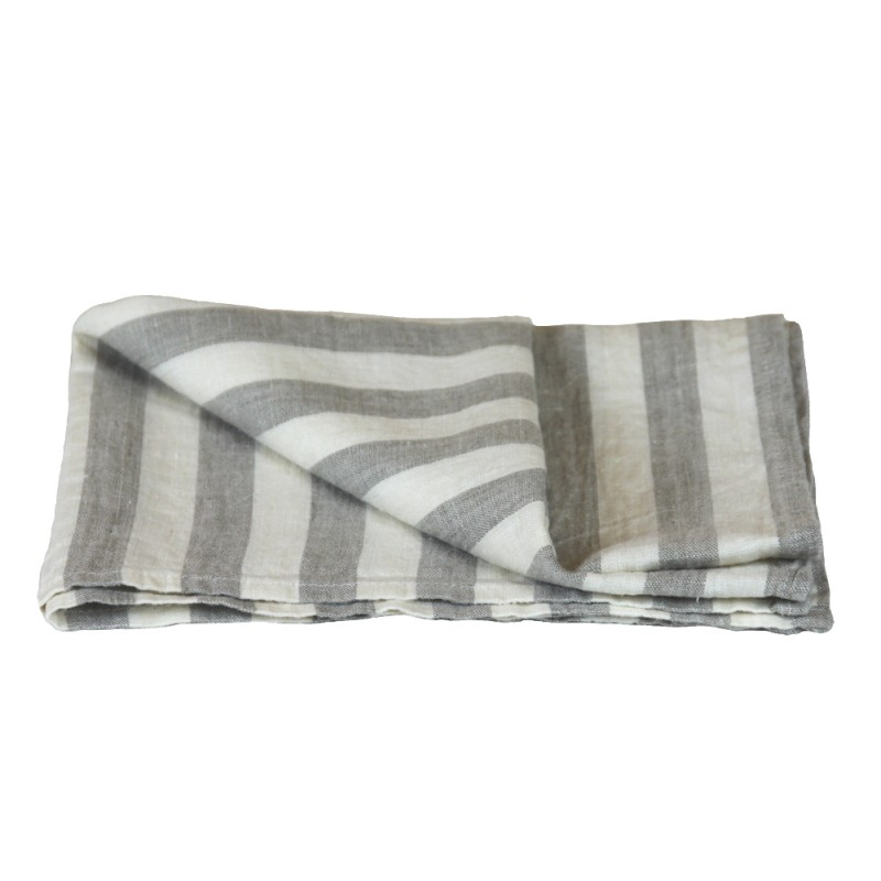 Linen Kitchen Towel   Stonewashed   Grey White Wide Stripes   Thin Linen ...