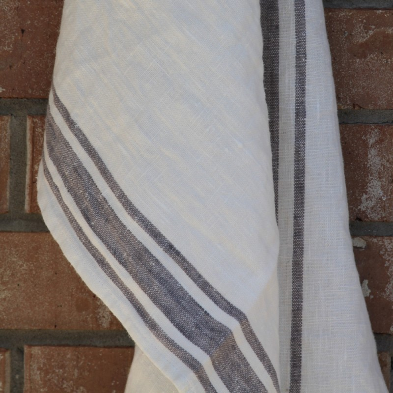 Exceptional ... Linen Kitchen Or Hand Towel   Stonewashed   White With Grey Stripes    Luxury Thick Linen ...