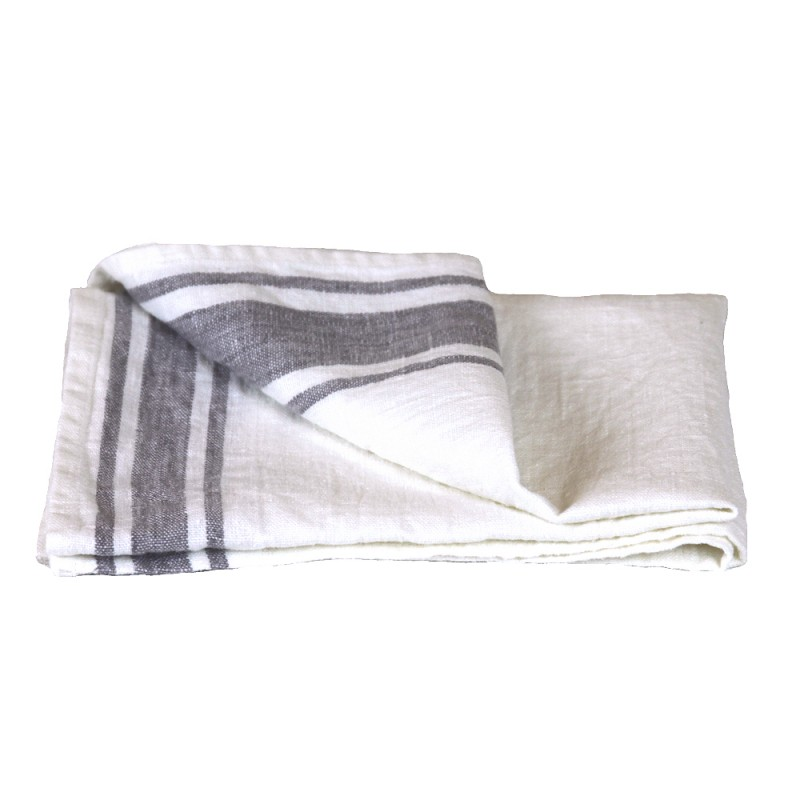 Linen Kitchen Or Hand Towel   Stonewashed   White With Grey Stripes    Luxury Thick Linen ...