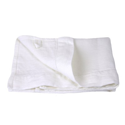 Linen Hand Towel   Stonewashed   White With Dot Hemstitch   Luxury Thick  Linen