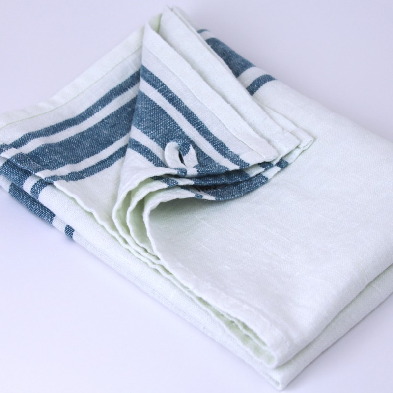 ... Linen Hand Towel   Stonewashed   White With Marine Blue Stripes    Luxury Thick Linen